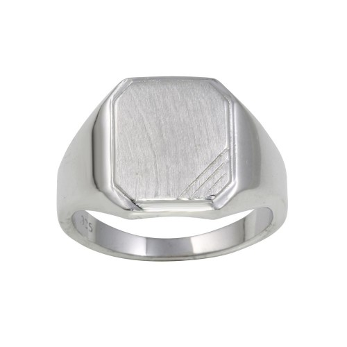 Wholesale Sterling Silver 925 Rhodium Plated Men's Engravable Octagon Ring with Matte Finish - BGR01241