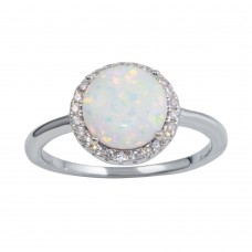 Wholesale Sterling Silver 925 Rhodium Plated Round Opal Stone Ring with CZ - BGR01242