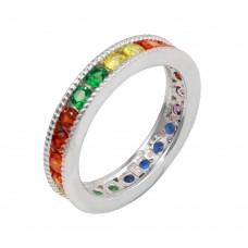Wholesale Sterling Silver 925 Rhodium Plated Rainbow CZ Eternity Ring - BGR01244