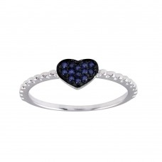 Wholesale Sterling Silver 925 Rhodium Plated Beaded Heart Blue CZ Ring - BGR01245BLU