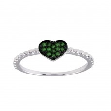 Wholesale Sterling Silver 925 Rhodium Plated Beaded Heart Green CZ Ring - BGR01245GRN