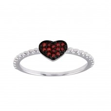 Wholesale Sterling Silver 925 Rhodium Plated Beaded Heart Red CZ Ring - BGR01245RED