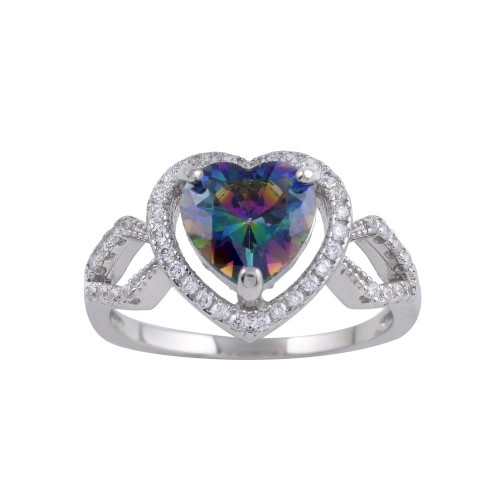Wholesale Sterling Silver 925 Rhodium Plated Halo Heart Synthetic Mystic Topaz CZ Ring - BGR01246