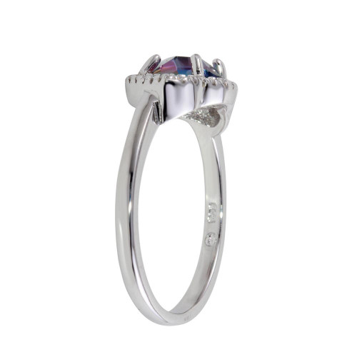 Wholesale Sterling Silver 925 Rhodium Plated Oval Synthetic Mystic Topaz CZ Ring - BGR01247