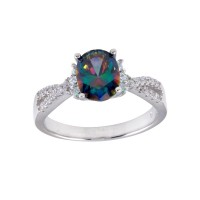 Wholesale Sterling Silver 925 Rhodium Plated Oval Solitaire Synthetic Mystic Topaz CZ Band Ring - BGR01248