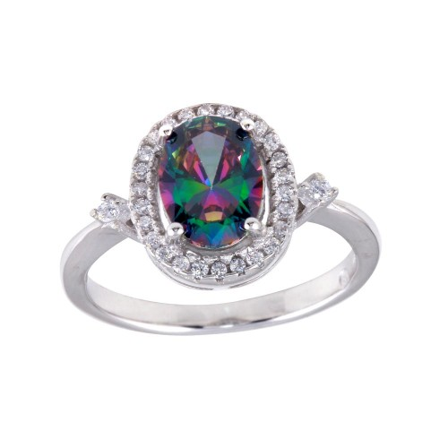 Wholesale Sterling Silver 925 Rhodium Plated Oval Solitaire Synthetic Mystic Topaz CZ Ring - BGR01249