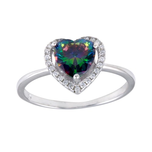 Wholesale Sterling Silver 925 Rhodium Plated Heart Synthetic Mystic Topaz CZ Ring - BGR01250