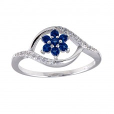 Wholesale Sterling Silver 925 Rhodium Plated Wave Blue Center Flower CZ Ring - BGR01252BLU