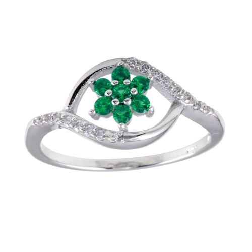 Wholesale Sterling Silver 925 Rhodium Plated Wave Green Center Flower CZ Ring - BGR01252GRN