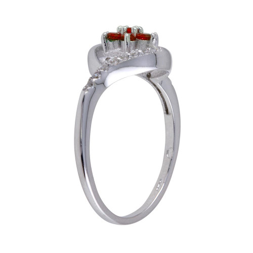 Wholesale Sterling Silver 925 Rhodium Plated Wave Red Center Flower CZ Ring - BGR01252RED