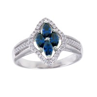 Wholesale Sterling Silver 925 Rhodium Plated 4 Blue Marquise Center CZ Ring - BGR01253BLU