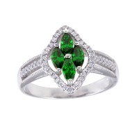 Wholesale Sterling Silver 925 Rhodium Plated 4 Green Marquise Center CZ Ring - BGR01253GRN