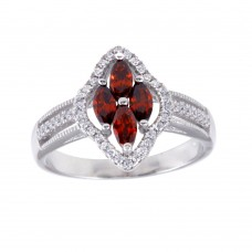 Wholesale Sterling Silver 925 Rhodium Plated 4 Red Marquise Center CZ Ring - BGR01253RED