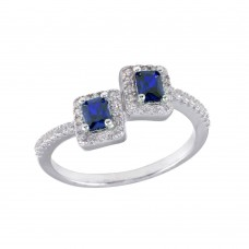 Wholesale Sterling Silver 925 Rhodium Plated Double Square Blue Center CZ Ring - BGR01254BLU