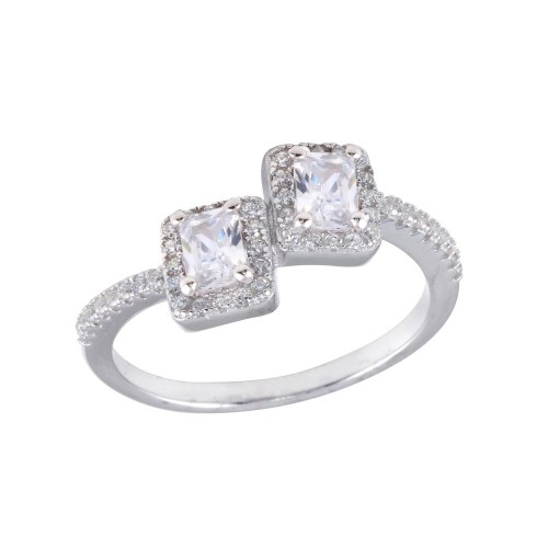 Wholesale Sterling Silver 925 Rhodium Plated Double Square Clear Center CZ Ring - BGR01254CLR