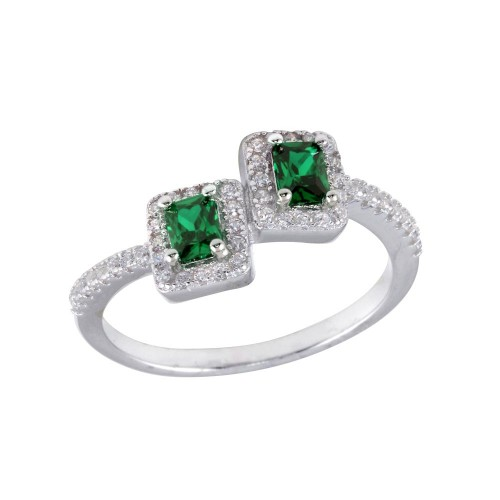 Wholesale Sterling Silver 925 Rhodium Plated Double Square Green Center CZ Ring - BGR01254GRN