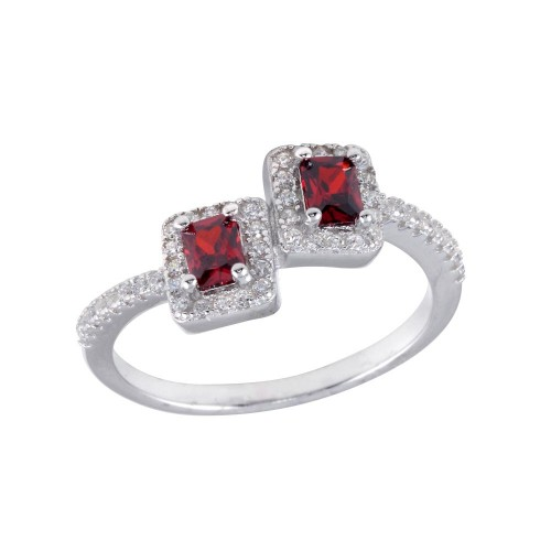 Wholesale Sterling Silver 925 Rhodium Plated Double Square Red Center CZ Ring - BGR01254RED