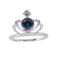 Wholesale Sterling Silver 925 Rhodium Plated Crown Synthetic Mystic Topaz CZ Ring - BGR01255