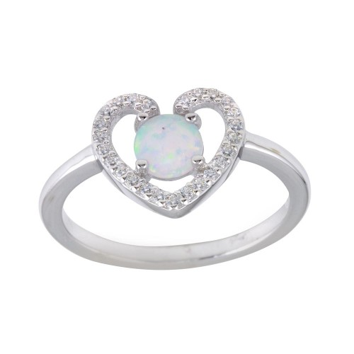 Wholesale Sterling Silver 925 Rhodium Plated Heart Synthetic Opal Center CZ Ring - BGR01256