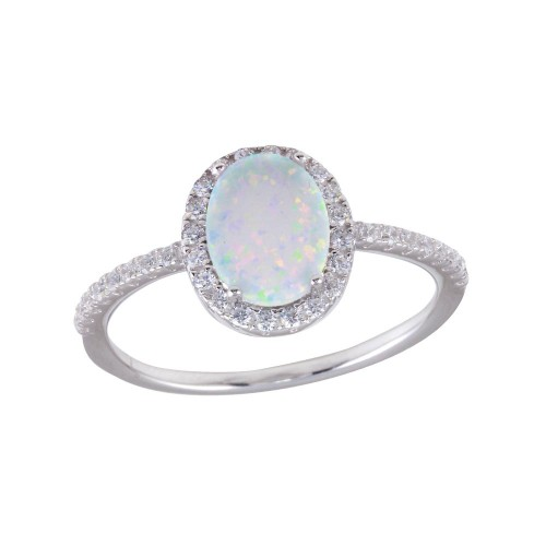 Wholesale Sterling Silver 925 Rhodium Plated Oval Solitaire Synthetic Opal CZ Ring - BGR01257