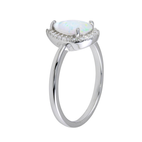 Wholesale Sterling Silver 925 Rhodium Plated Teardrop Synthetic Opal CZ Ring - BGR01258