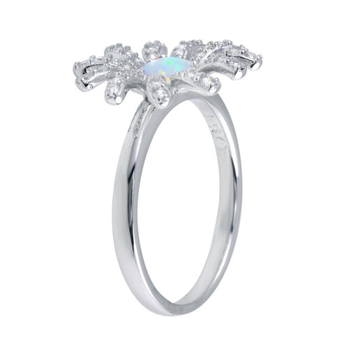 Wholesale Sterling Silver 925 Rhodium Plated Flower Synthetic Opal Center CZ Ring - BGR01259