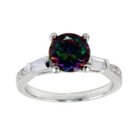Wholesale Sterling Silver 925 Rhodium Plated Oval Solitaire Synthetic Mystic Topaz Baguette Shank CZ Ring - BGR01261