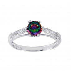 Wholesale Sterling Silver 925 Rhodium Plated Oval Solitaire Synthetic Mystic Topaz CZ Ring - BGR01262