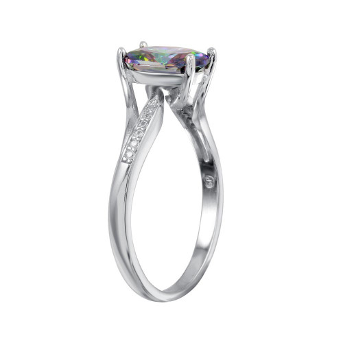Wholesale Sterling Silver 925 Rhodium Plated Oval Mystic Topaz CZ Ring - BGR01266