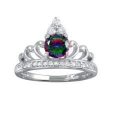 Wholesale Sterling Silver 925 Rhodium Plated Crown Synthetic Mystic Topaz CZ Ring - BGR01267