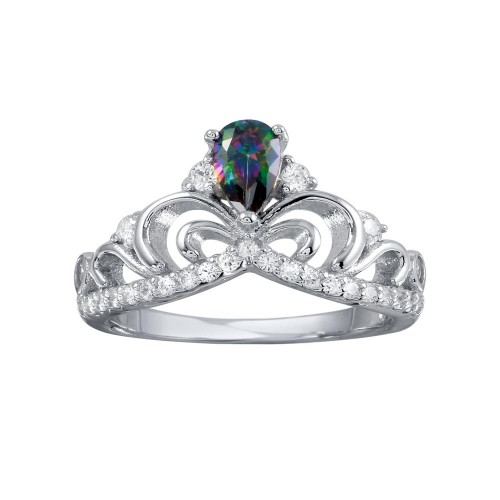 Wholesale Sterling Silver 925 Rhodium Plated Crown Synthetic Mystic Topaz CZ Ring - BGR01268