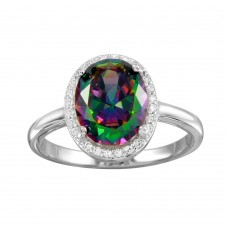 Wholesale Sterling Silver 925 Rhodium Plated Oval Halo Mystic Topaz CZ Ring - BGR01269