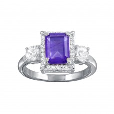 Wholesale Sterling Silver 925 Rhodium Plated Purple Center Halo CZ Ring - BGR01270