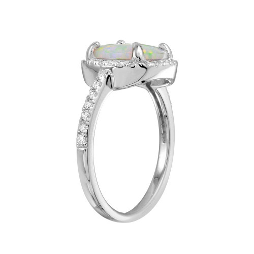 Wholesale Sterling Silver 925 Rhodium Plated Square Halo Opal CZ Ring - BGR01271