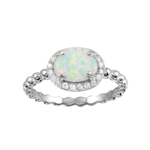 Wholesale Sterling Silver 925 Rhodium Plated Oval Halo Opal CZ Beaded Design Band Ring - BGR01272