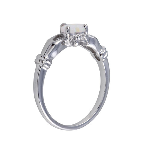 Wholesale Sterling Silver 925 Rhodium Plated Heart Opal Ring - BGR01273