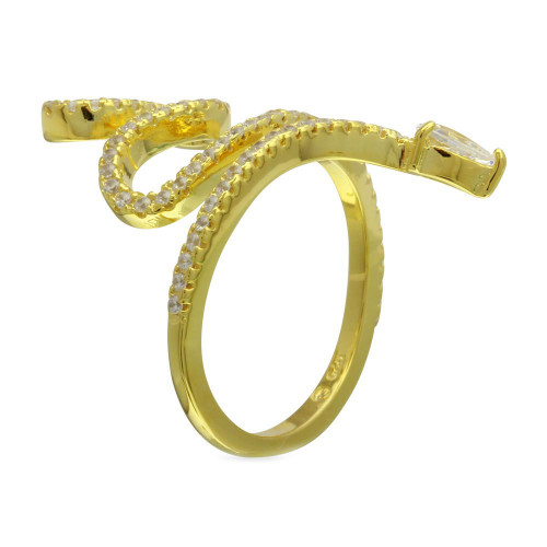 Wholesale Sterling Silver 925 Gold Plated Snake Design with CZ Ring - BGR01274