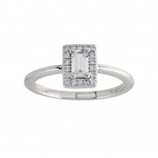 Wholesale Sterling Silver 925 Rhodium Plated Baguette Stone Halo CZ Ring - BGR01275