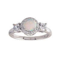 Wholesale Sterling Silver 925 Rhodium Plated Round Opal Stone Halo CZ Ring - BGR01276