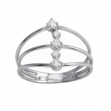 Wholesale Sterling Silver 925 Rhodium Plated Line CZ Ring - BGR01277