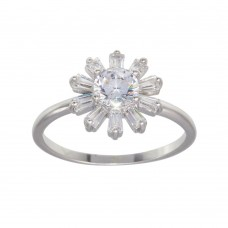 Wholesale Sterling Silver CZ Flower Shaped Ring - BGR01283