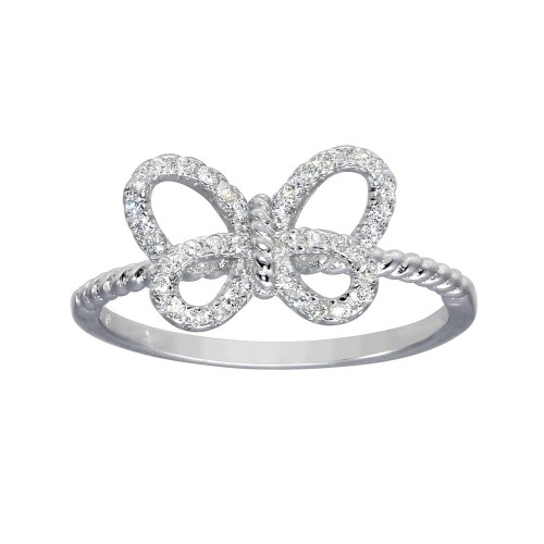 Wholesale Sterling Silver Rhodium Plated Open Butterfly Ring - BGR01284