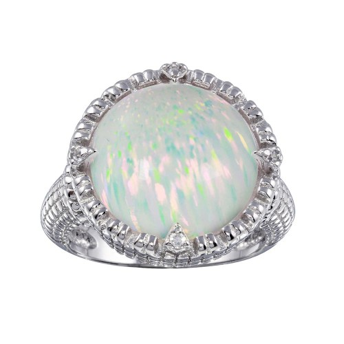 Wholesale Sterling Silver 925 Rhodium Plated Round Opal Stone Ring with CZ - BGR01285