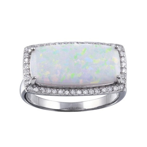 Wholesale Sterling Silver 925 Rhodium Plated Rectangular Opal Stone Ring with CZ - BGR01286
