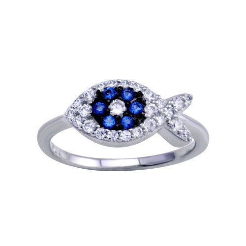 Wholesale Sterling Silver 925 Rhodium Plated Blue CZ Fish Ring - BGR01288
