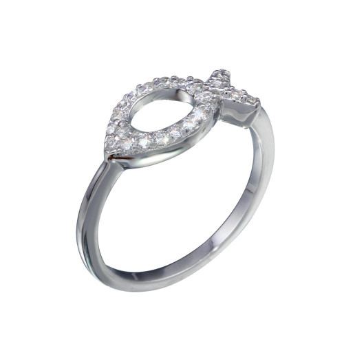 Wholesale Sterling Silver 925 Rhodium Plated Open CZ Fish Ring - BGR01289