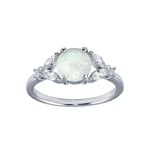 Wholesale Sterling Silver 925 Rhodium Plated Flower Shank Opal Stone Ring with CZ - BGR01290