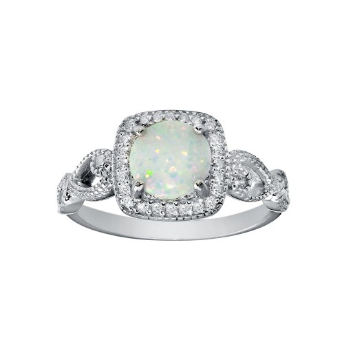 Wholesale Sterling Silver 925 Rhodium Plated Infinite Shank Square Opal Stone Ring - BGR01291