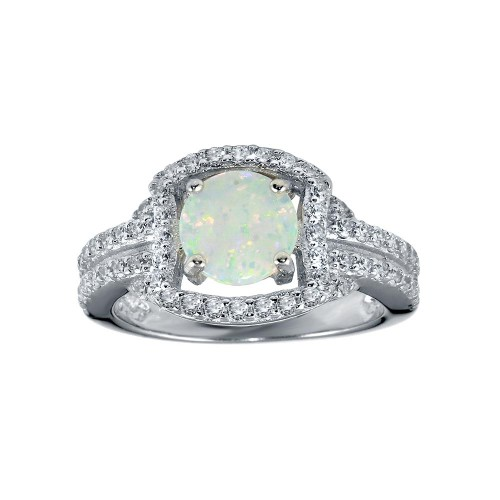 Wholesale Sterling Silver 925 Rhodium Plated Square Opal Stone Ring - BGR01292