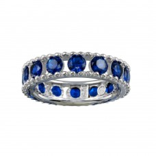Wholesale Sterling Silver 925 Rhodium Plated Round Blue CZ Band - BGR01293BLU